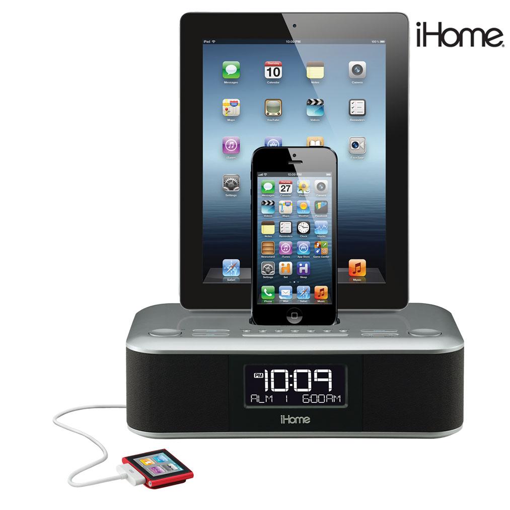 ihome triple charging clock radio w 2 lightning docks usb. Black Bedroom Furniture Sets. Home Design Ideas