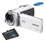 Samsung White HD Camcorder with 8GB MicroSD