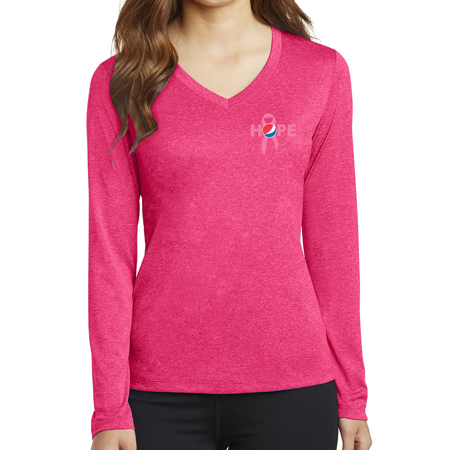 Ladies' Long Sleeve Heather Contender™ V-Neck Tee  - Awareness