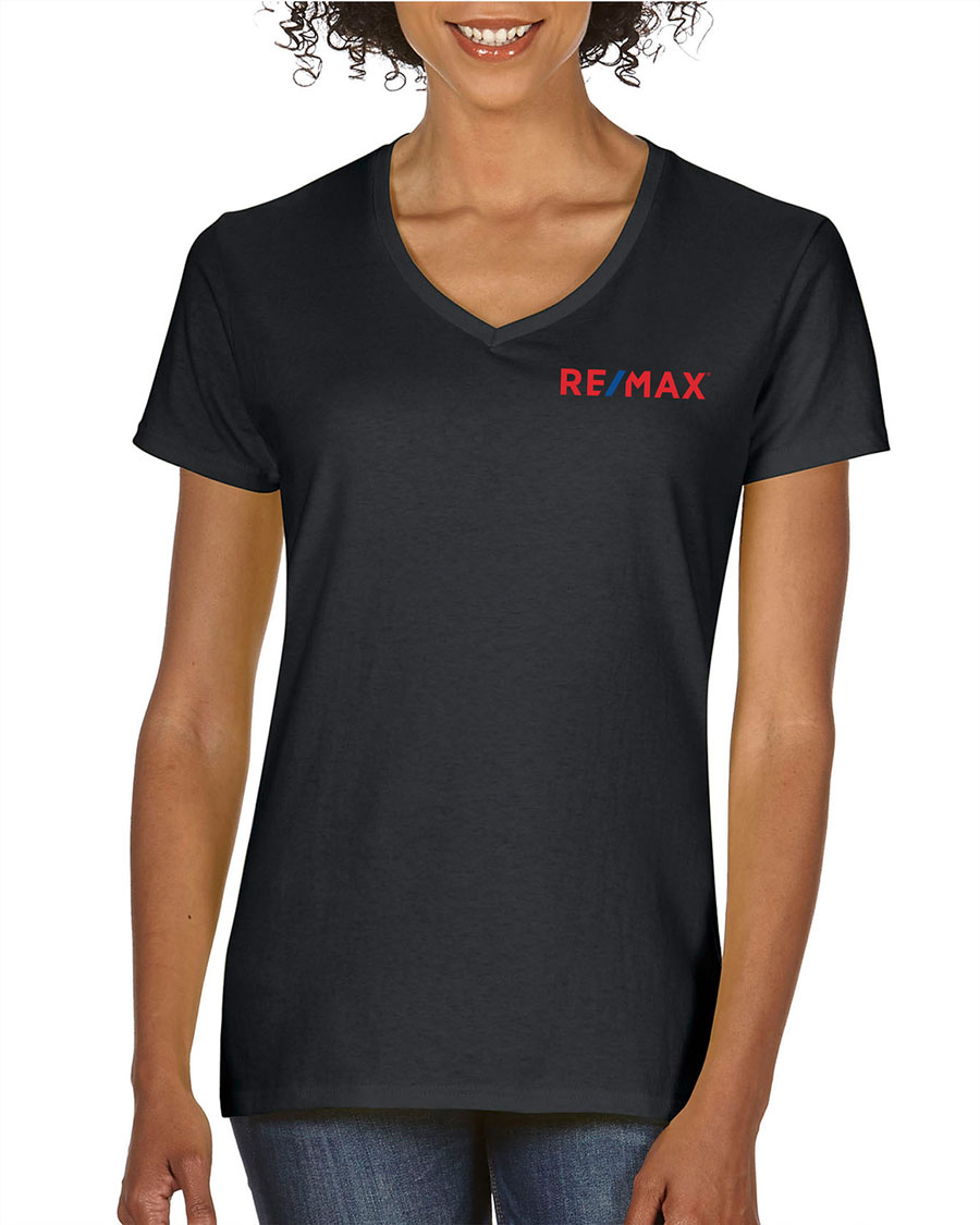 Ladies Heavy Cotton V-Neck T-Shirt - Black