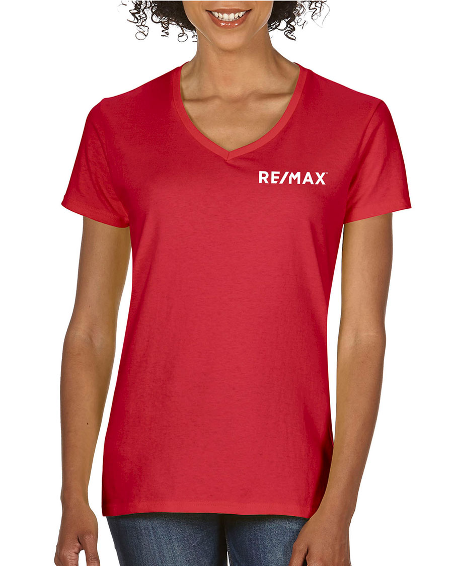 Ladies Heavy Cotton V-Neck T-Shirt - Red