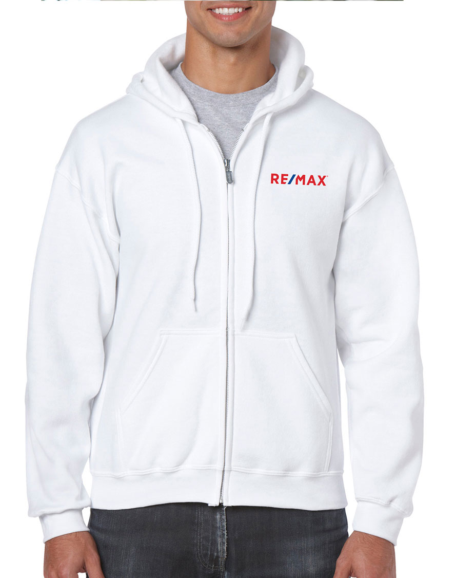 Full Zip Hooded Sweatshirt - White