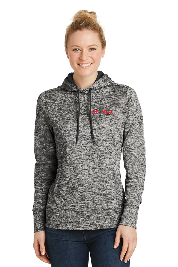 Ladies' PosiCharge® Electric Heather Fleece Hooded Pullover