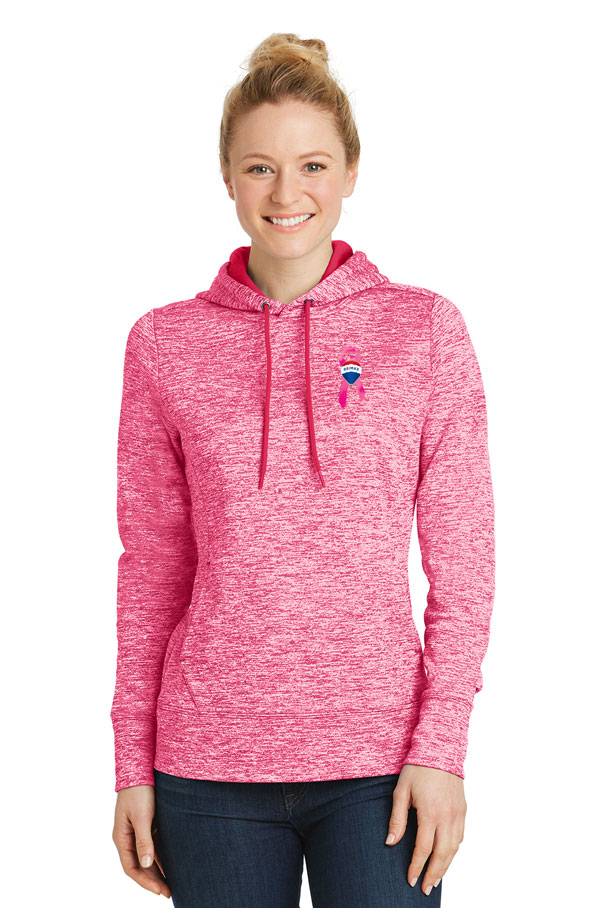 Ladies' PosiCharge® Electric Heather Fleece Hooded Pullover - Awareness
