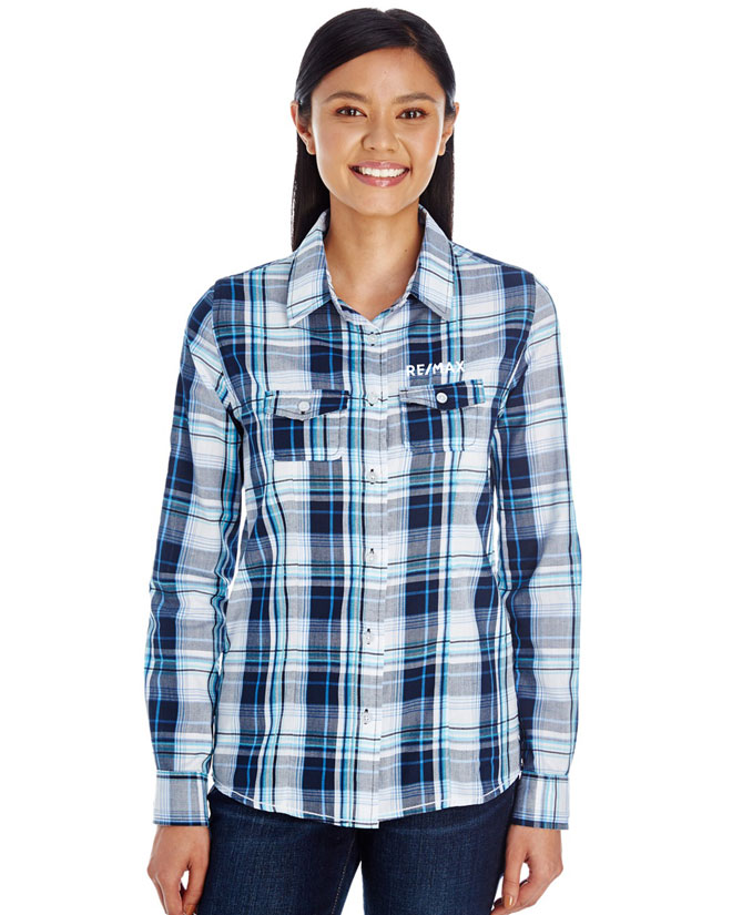 Ladies Plaid Pattern Woven Shirt