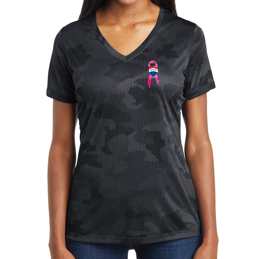 Ladies' CamoHex V-Neck Tee - Awareness