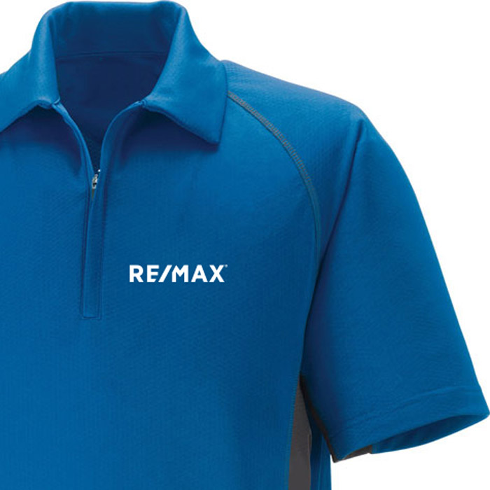 Performance Zippered Polo (Men's) (Blue)