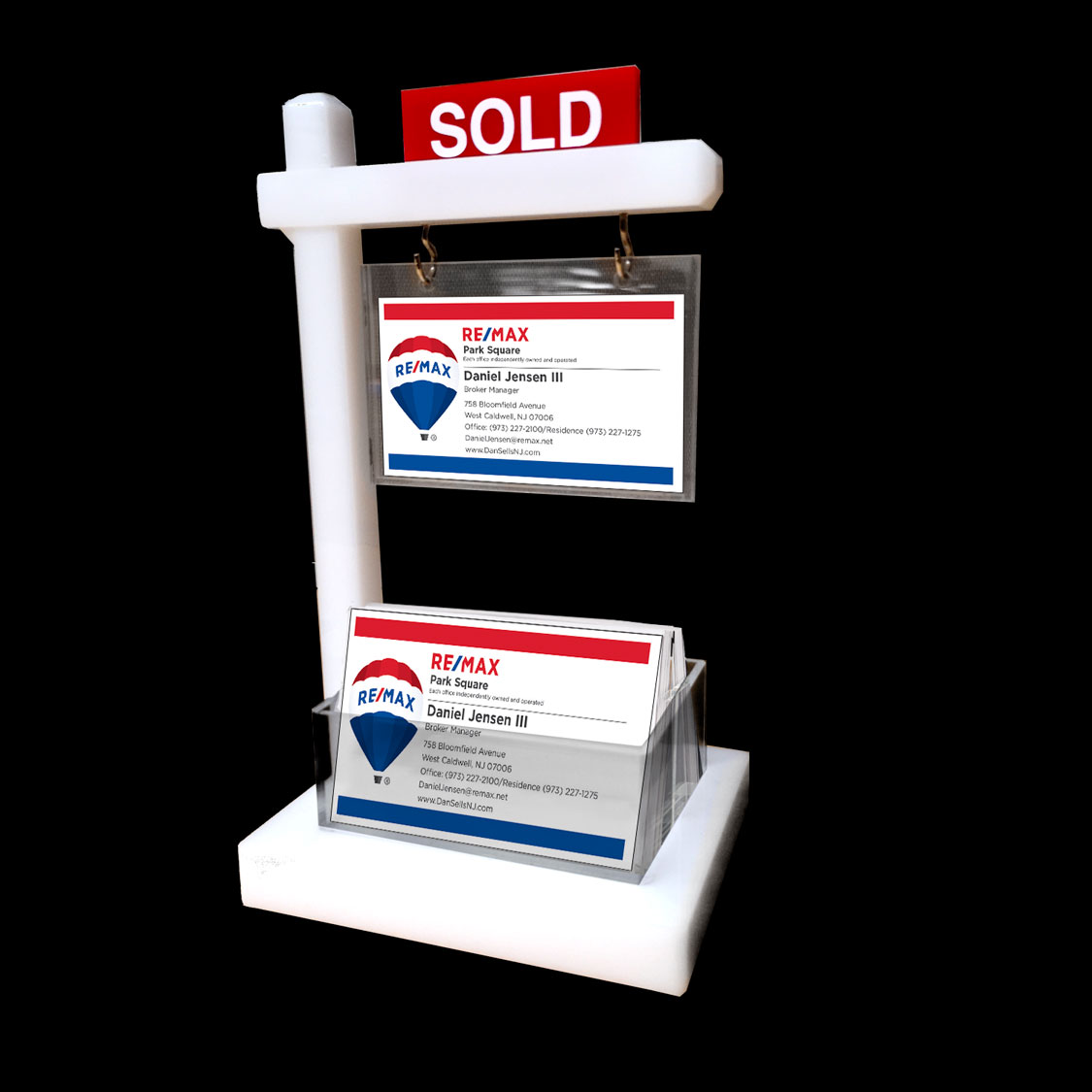 NEW THICKER DESIGN - Mini Real Estate Sign & Business Card Holder (White)
