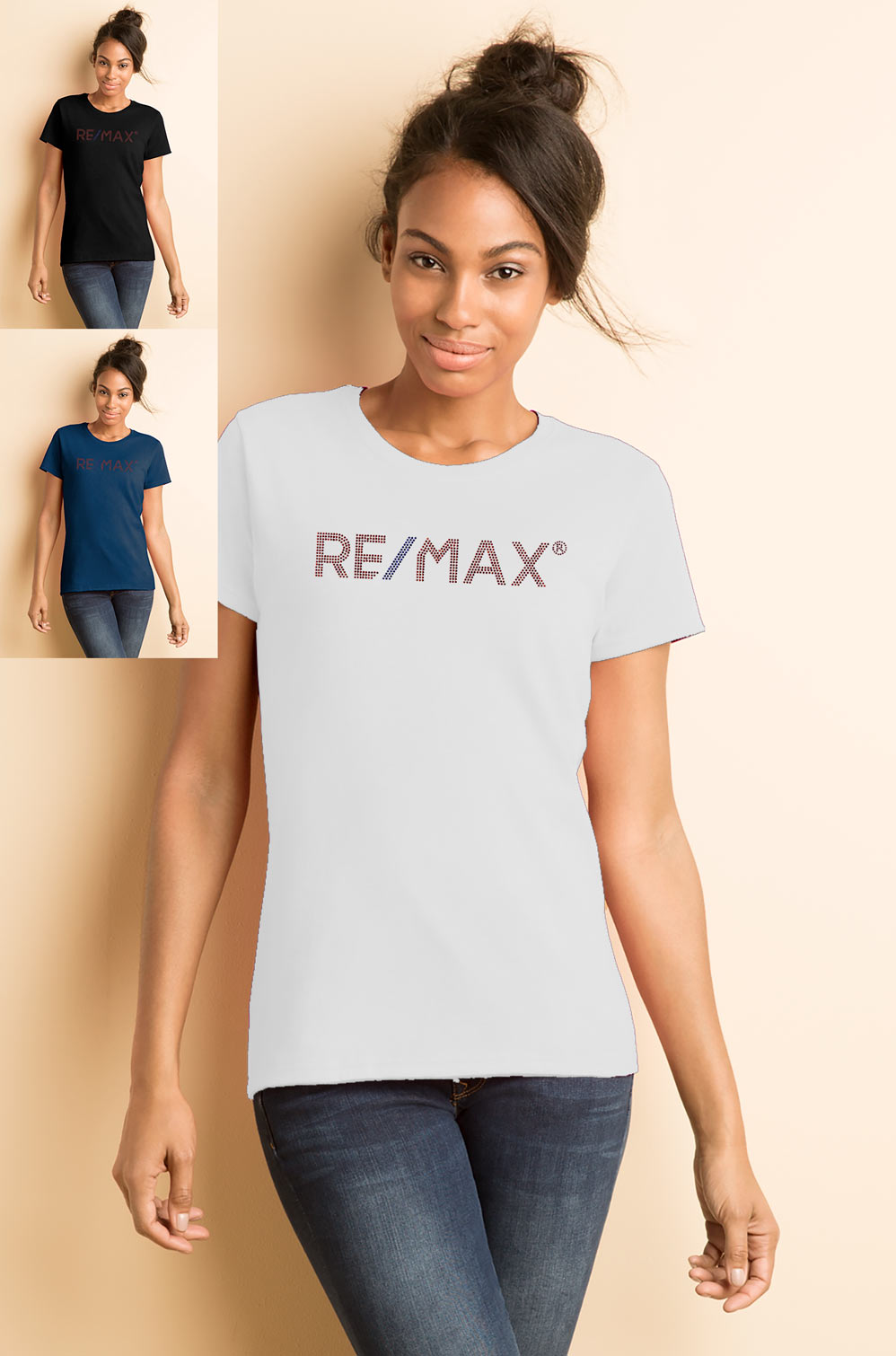 Ladies' Missy Fit T-shirt - RE/MAX Bling (Red/Blue)