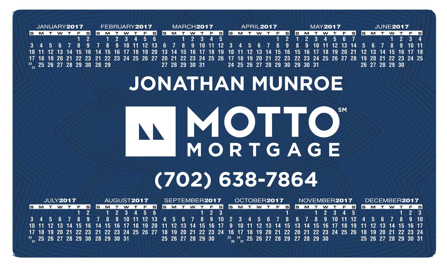 MOTTO Magnetic 4x7 Calendar 2017 - Personalize