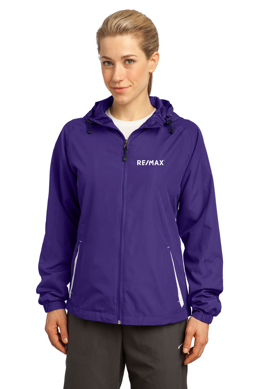 Colorblock Hooded Jacket (Ladies') (Purple/White)