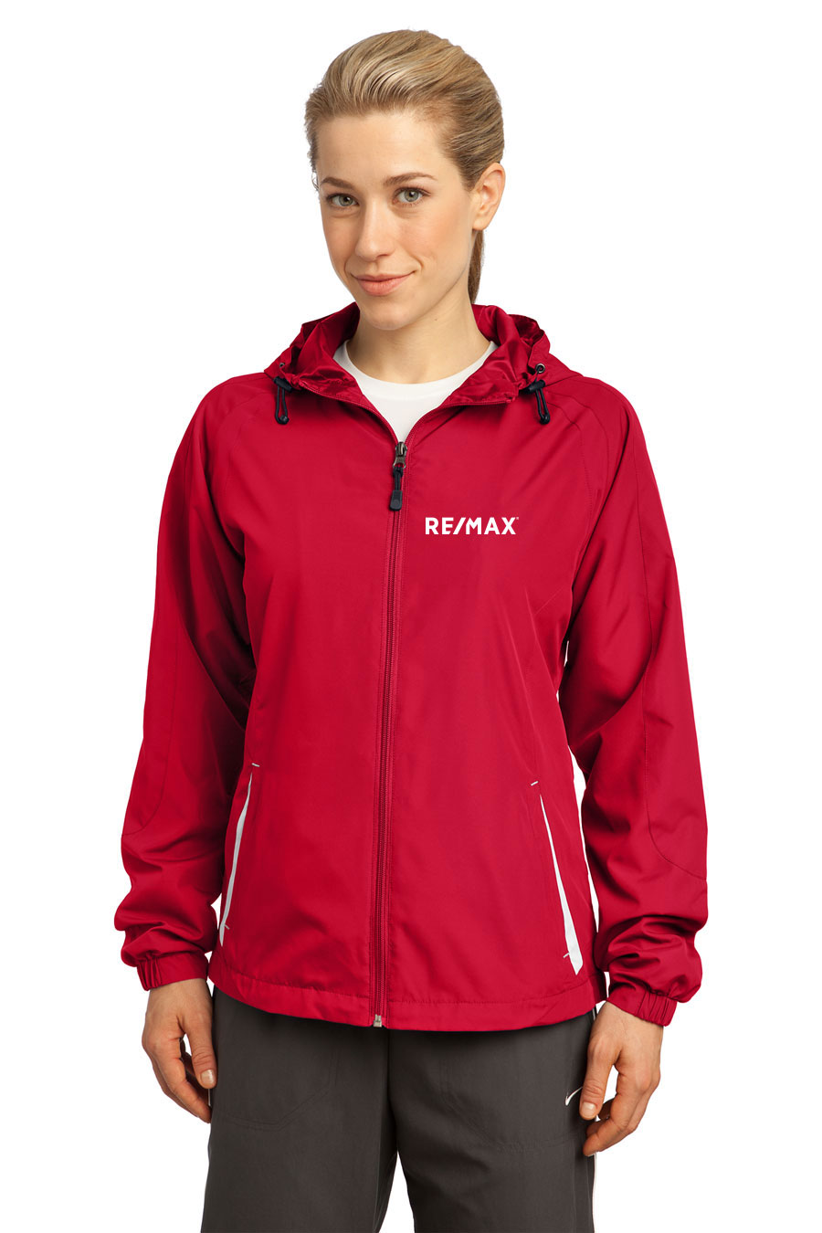 Colorblock Hooded Jacket (Ladies') (True Red/White)