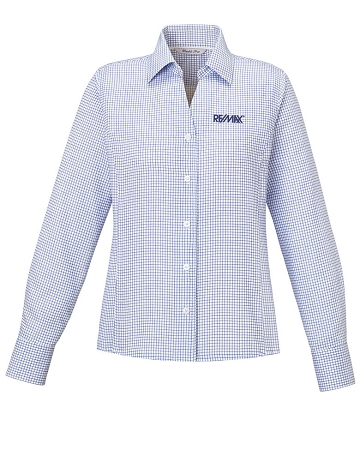 Iconic ladies 39 wrinkle free 2 ply 80 s cotton checkered for 2 ply cotton shirts