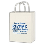 Kraft Paper White Shopping Bag - Personalized