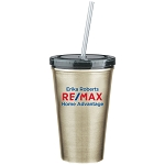 16 Oz. Stainless Steel Double Wall Tumbler With Straw - Personalized