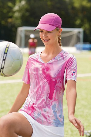Ladies  Short-Sleeve V-Neck All Sport Sublimated Pink Swirl Jersey