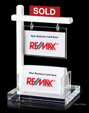Mini real estate sign business card holder white for Business cards shaped like a house