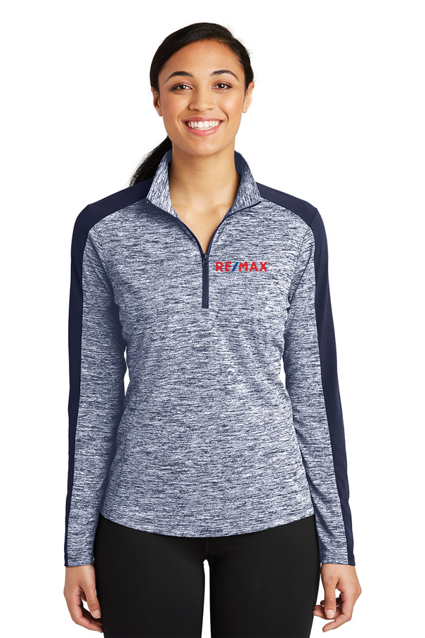 Ladies PosiCharge® Electric Heather Colorblock 1/4-Zip Pullover
