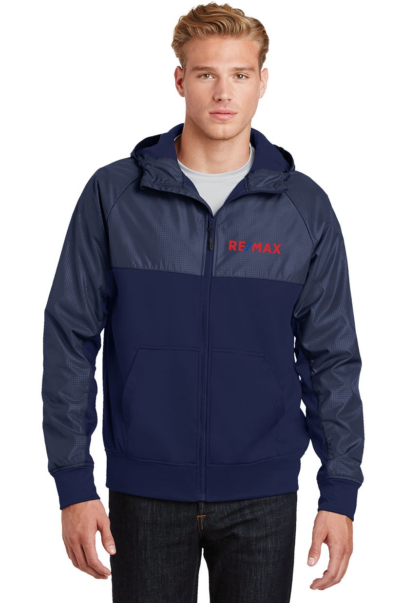 Men's Embossed Hybrid Full-Zip Hooded Jacket