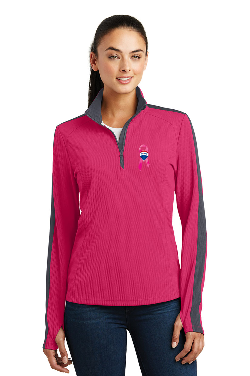 Ladies' Sport-Wick® Textured Colorblock 1/4-Zip Pullover  - Awareness