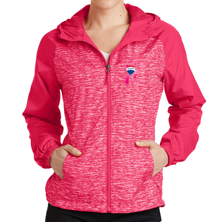 Ladies' Heather Colorblock Raglan Hooded Wind Jacket  - Awareness