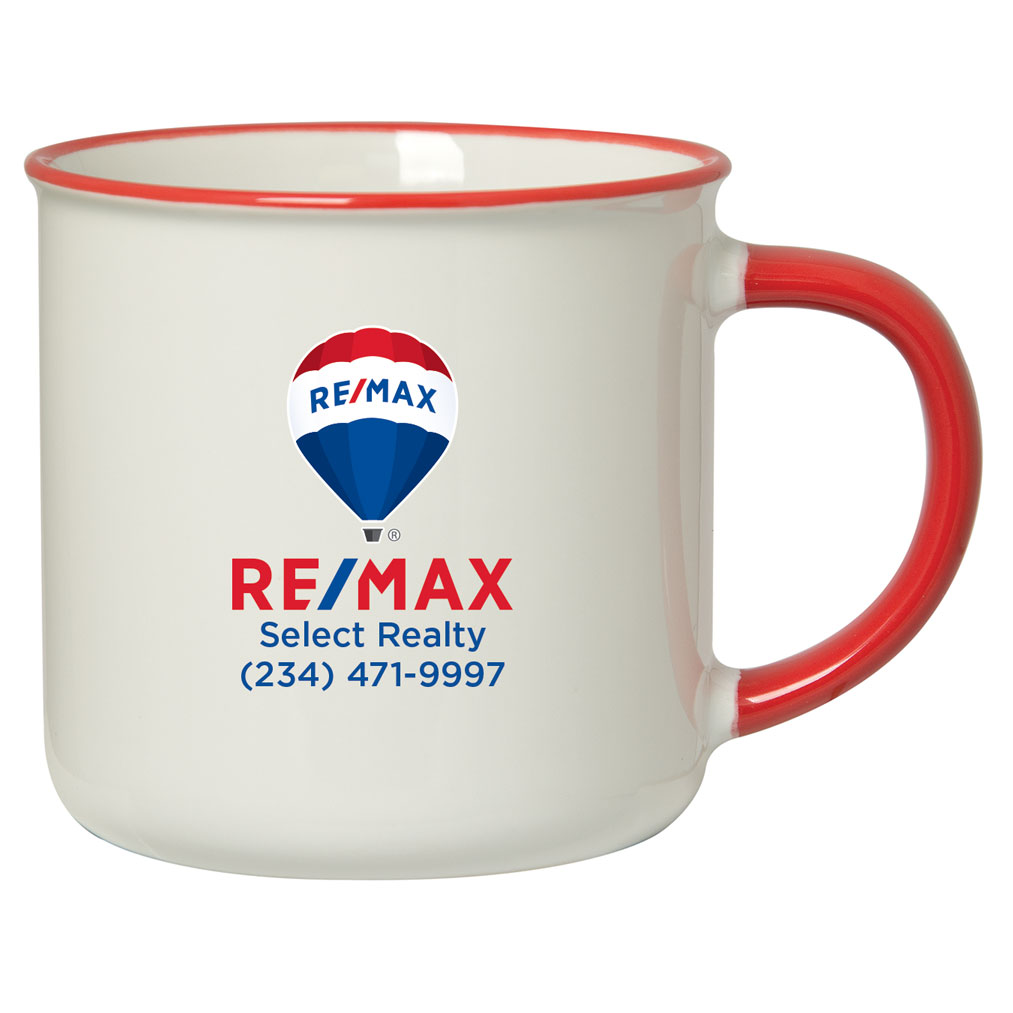12 OZ. MUG WITH COLOURED RIM/HANDLE - Personalized