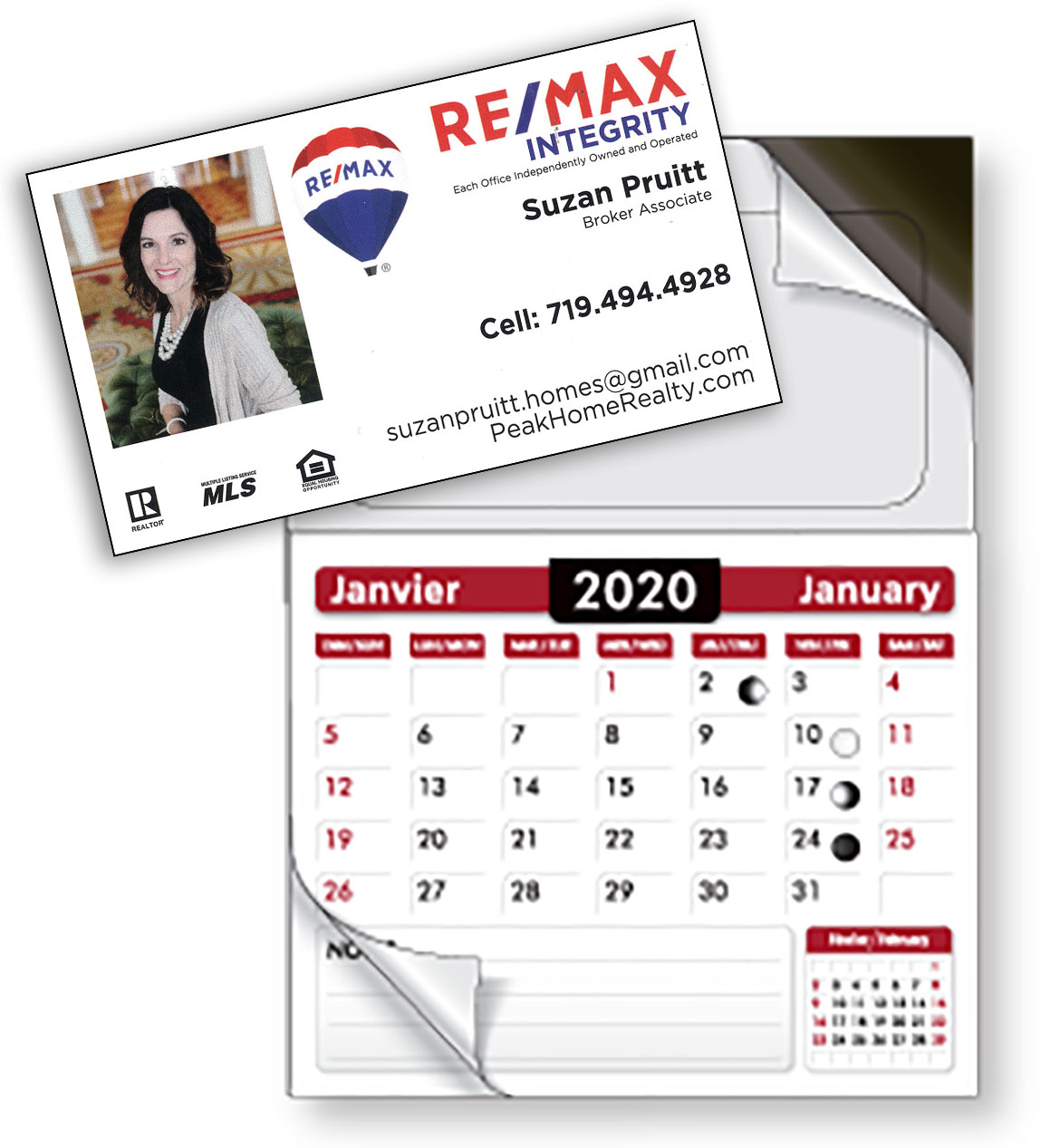 "Magnetic Business Card  &  Calendar Pad   (2"" x3.5"" 