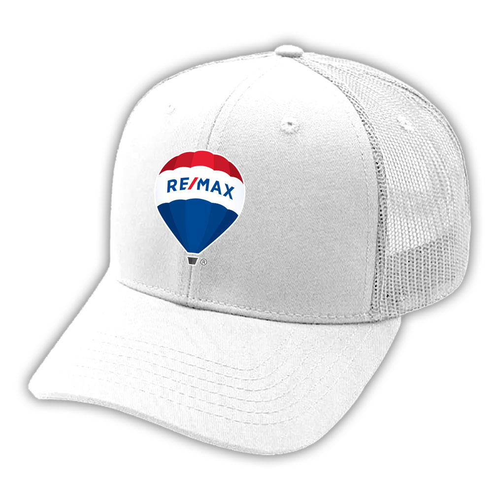 Deluxe 6 Panel Constructed Cotton Twill Mesh Back Pro Style Cap - White - RE/MAX BALLOON