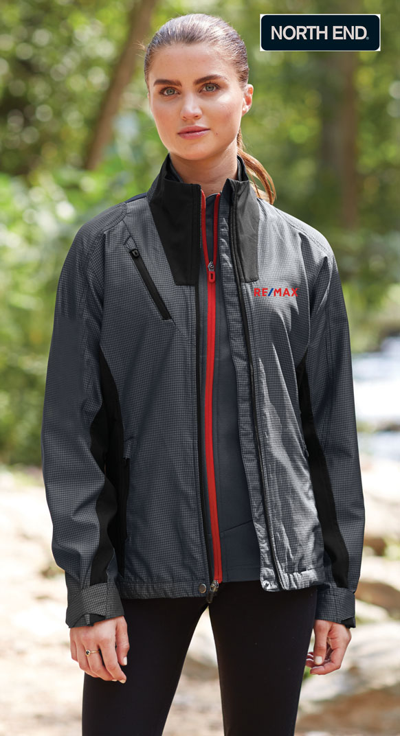 North End Sport® Red Ladies' Interactive Aero Two-Tone Lightweight Jacket