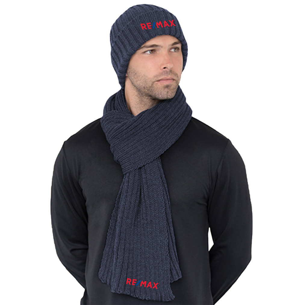 Chunky Beanie and Scarf Combo - NAVY