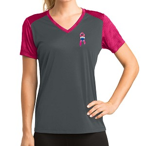 Ladies' CamoHex Colorblock V-Neck Tee - Awareness